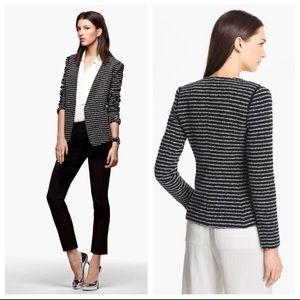 Theory Yaisa Tweed Boucle Striped Open Blazer